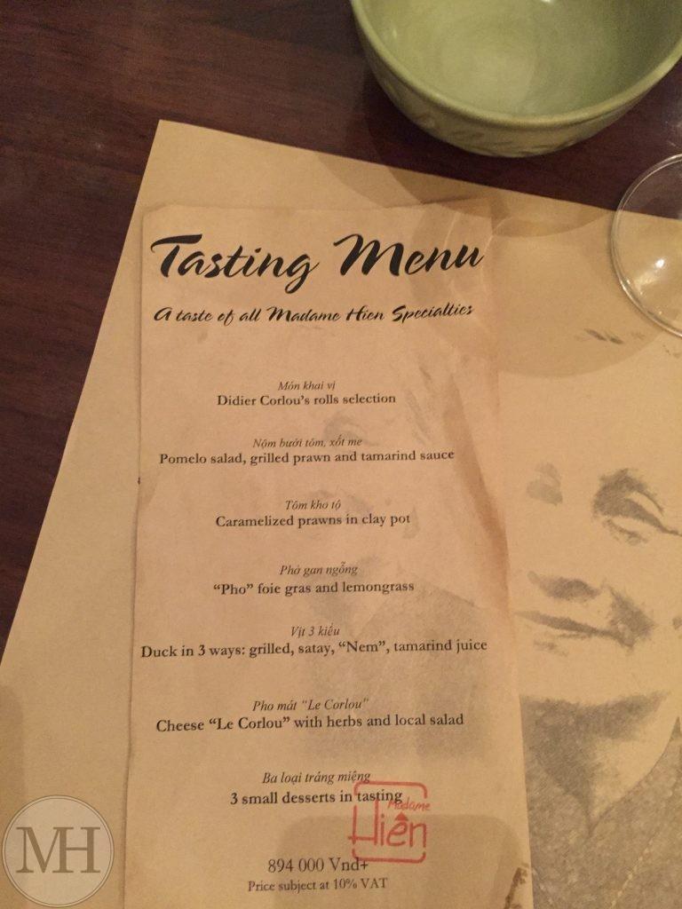 Madame Hien Hanoi menu