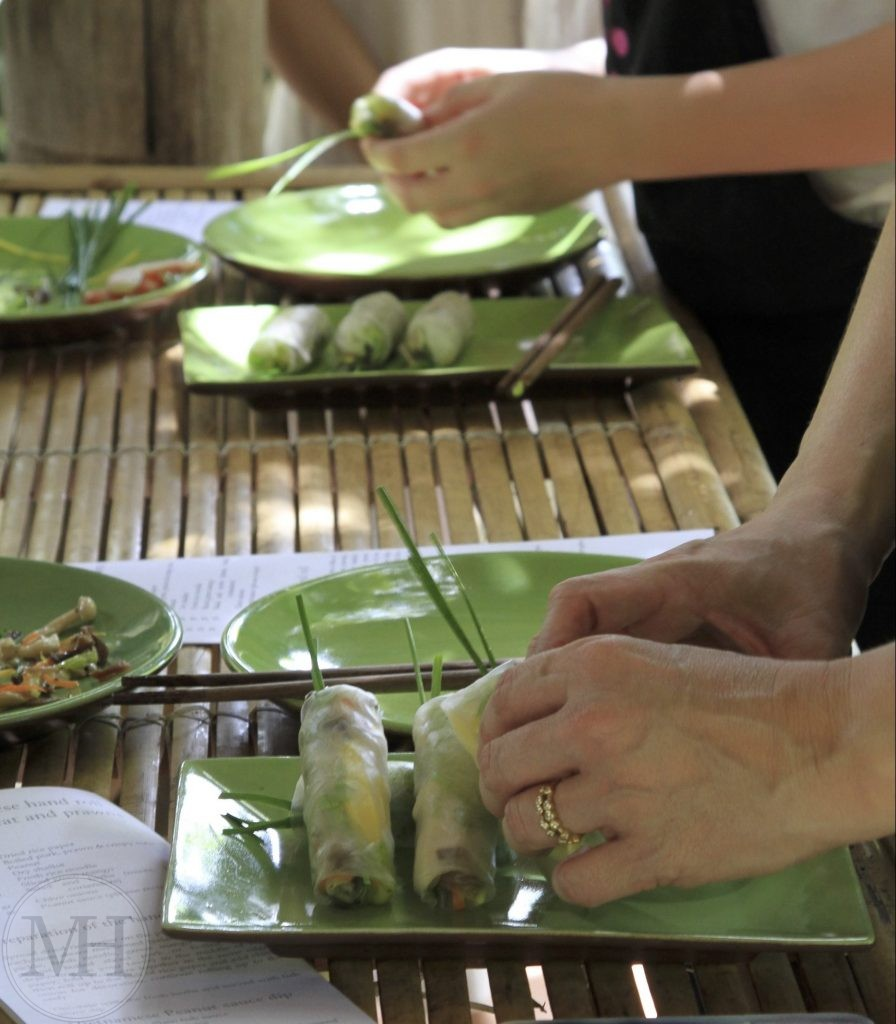 Six Senses cooking class spring roll